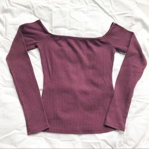 Charlotte Russe Purple Off the Shoulder Top
